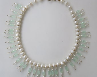 Stunning Choker Wedding Necklace Handmade with Chalcedony, Pearls and Swarovski Crystals Designed by Oppula