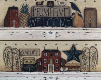 STILL LIFE Mini Primitive Folk Art Print by Donna Atkins. Saltbox, willow trees, barn star, crows