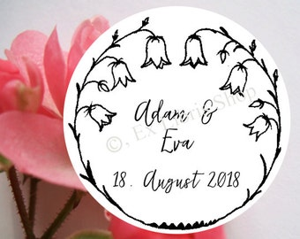 """Personalized wedding stamp """"bellflower"""", wedding DIY, wedding announcement, save the date stamp, personalized name stamp, bellflower stamp"""