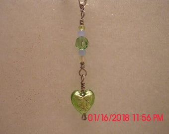 Wirewrapped, beaded heart charm