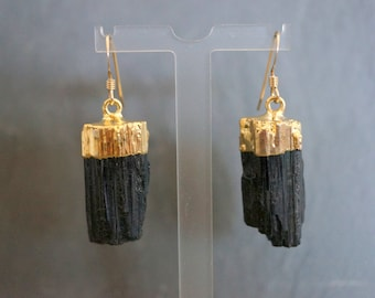Raw Tourmaline // Tourmaline Earrings // Gold Tourmaline //  Black Tourmaline // Raw Tourmaline Earrings