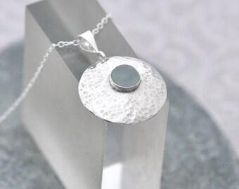 Aquamarine Pendant, Aquamarine Necklace, Aquamarine Jewelry, Round Silver Pendant & Aquamarine, March Birthstone, Aquamarine Gift for Her