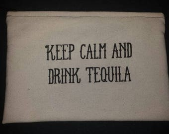 Keep calm and drink Tequila - Makeup canvas Bag