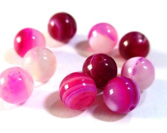 20 striped agate beads shades of pink 6mm