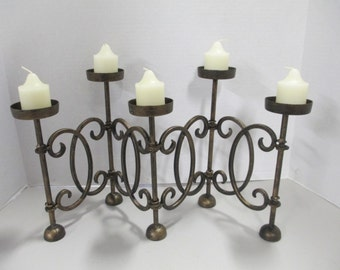 K Vintage gold painted antiqued tone folding candle holder 5 cups with candles fair condition Used
