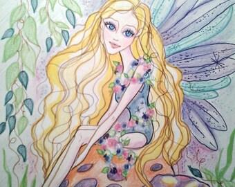 Fairy Art Print Mushroom Fairy Flowers
