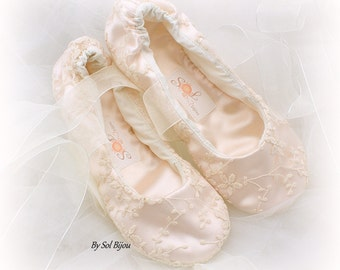 Wedding Ballet Shoes in Blush and Ivory Lace with Ribbon Ties