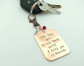 I'll Hold You in my Heart Until I Hold You in Heaven Memorial Keychain - Keepsake Gift for Loss of Loved One - Remembrance Gift - Dog Tags