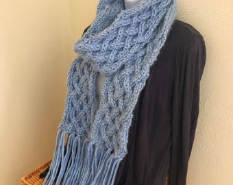 Blue Knitted Scarf With Fringe, Cable Knit Scarf, Baby Blue Scarf, Womens Scarf, Winter Scarf, Long Scarf, Chunky Scarf, Thick Scarf