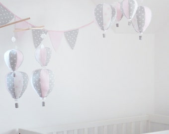 Pastel Baby Mobile, Hot Air Balloon Mobile, Pink and Grey, Baby, Custom Mobile, Nursery Decor, Baby Shower Gift, Personalized Baby Mobile