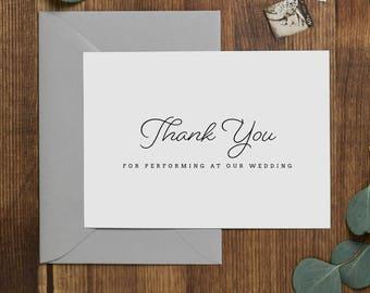 Vielen Dank für darstellende an unsere Hochzeit, Hochzeit-Karte für Band, Band Dankeskarte Hochzeit, Hochzeit danken Ihnen Karten, Band-Dankeschön-Karte, K1