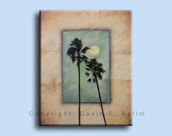 Florida Palm by Moonlight limited edition signed hand-enhanced Giclee by David E. Bellm