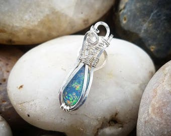 Mini Australian Opal Doublet Sterling Silver Wire Wrapped Pendant Necklace