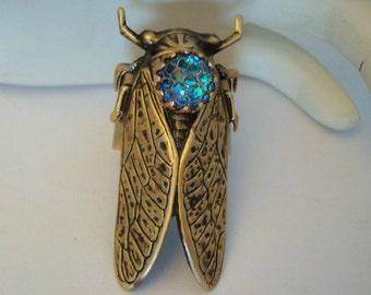 Ring, Cicada Bug, Jewelry, Dragon Skin Iridescent Jewel, Metal Bonded NOT Glued, NO Raw Brass In My Jewelry Designs,