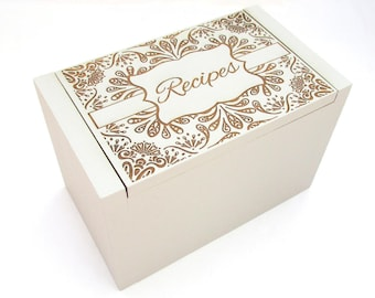 Personalized Recipe Box - Floral Design Painted in Your Choice of Color - Chalk Paint Bamboo Recipe Box