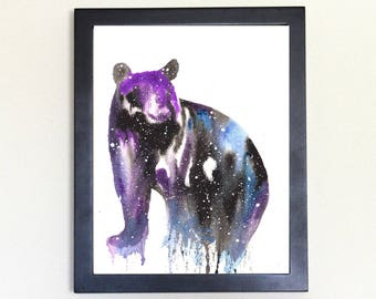 Black Bear Art Print, Galaxy Spirit Animal Watercolor 8x10