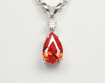 Fire opal necklace etsy mexican fire opal necklace pendant sterling silver aloadofball Gallery
