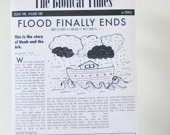 Giant Newspaper Coloring Page, Noah's ark, Bible Story, Poster Printable