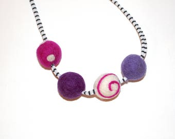 Girly Felted wool Ball Necklace