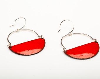 Avery Earrings - Hoops, Enamel on Copper, Sterling Hoops, Half circles, Crescents