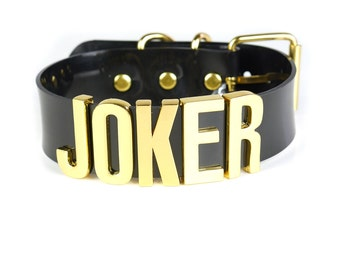"Suicide Squad ""JOKER"" Choker | Cosplay | Puddin Choker | Batman | Joker | Halloween Costume | Harley Quinn Choker | BIG Letters - Gold"