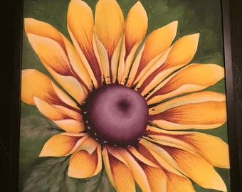 Black Eyed Susan Painting, Flower Painting, Acrylic Painting, Black Eyed Susan,