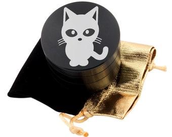 """Cat Laser Etched Design 2.5"""" Large Size Herb Grinder Item # ETCH-G013017-69"""