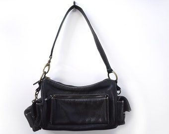 Alfani Black Leather Small Hobo Handbag With Side Pockets And a Removable Pouch
