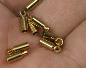 50 pcs 2.5 X 8 mm 2 mm inner with (1.2 mm) loop raw brass cord  tip ends, ribbon end, ends cap, findings ENC2-55 1539R