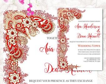 Hindu Wedding Invitation - Printable Wedding Invitation - Indian Invitation - White Invitation   ARIA.W