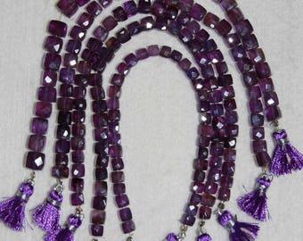 Amethyst, Amethyst Cube, 5.5-6 mm, Faceted Cube, Natural Stone, Purple Cube Bead, Semi Precious, Amethyst Bead, HALF Strand, AdrianasBeads