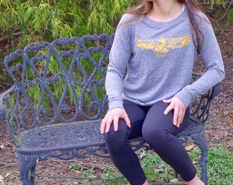 Women's Eco-Jersey GOLDEN EAGLE Long Sleeve Pullover Yoga Top, xs s md lg xl