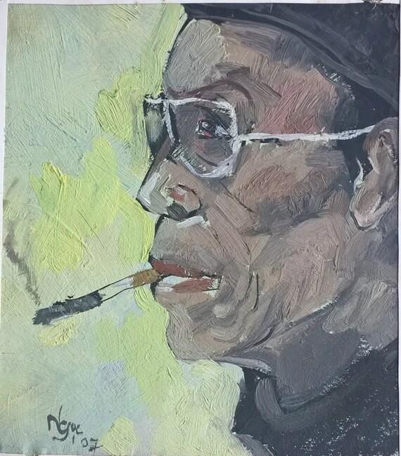 "THE STILLNESS 8x9"" oil on canvas, live painting, Vietnam village scene, original by Nguyen Ly Phuong Ngoc"