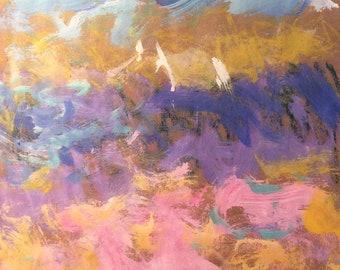 Peinture paysage marin, voiliers et océan, art expressionniste originale, Russ Potak