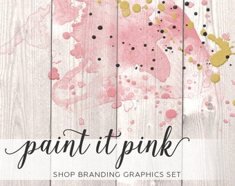 Painted Wood Shop Branding Banners, Avatar Icons, Business Card, Logo Label + More - 12 Premade Graphics Files - PAINT IT PINK