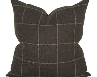 Bancroft Wool Plaid pillow cover in Sable