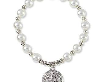 Sterling Silver Saint Benedict Bracelet, St. Benedict Medals Bracelet, San Benito