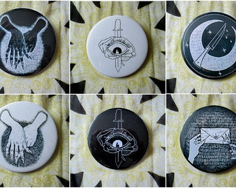 Various badges (eg. political, creepy, illustrations)