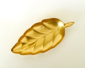 Vintage Brass Tone Napier Leaf Shaped Tray