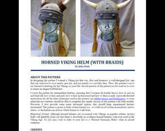 Knitting Pattern Horned Viking Hat with Braids, Viking Helmet Knitting Pattern, Viking Hat Pattern