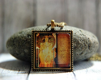 "1"" Square  Glass Pendant Necklace or Key Chain - Alfonse Mucha"