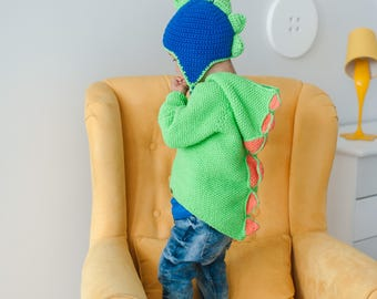 Knitted Baby Sweater Dinosaur Crochet Baby Jacket Hoodie for Halloween