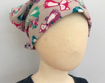 Mia Children's Head Cover, Girl's Cancer Hat, Chemo Scarf, Alopecia Headwear, Head Wrap, Cancer Gift for Hair Loss - Gray Ladybugs