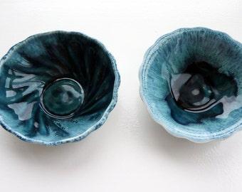Vintage small teal ceramic bowls