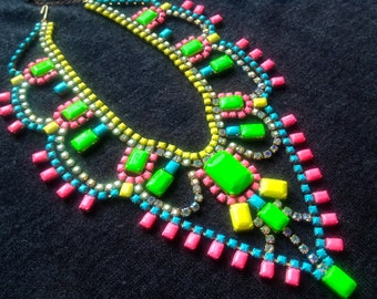 Neon Custom Hand Painted Rhinestone Statement Necklace - Tom Binns look