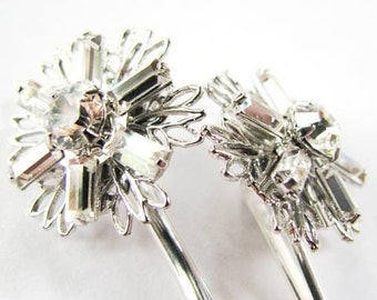 Winter Sparkle - Crystal Swarovski Snowflake Hair Pins, Winter Weddings, Holiday Glamour
