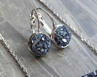 Crushed Crystal Druzy Dangle Earrings - As Seen On How To Get Away With Murder
