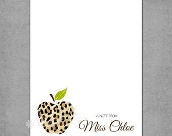 Teacher Notepad - Sophisticated Animal Print Apple in Black & Brown Cheetah - Personalized Custom Notepads - Creative Gift - Miss Chloe.