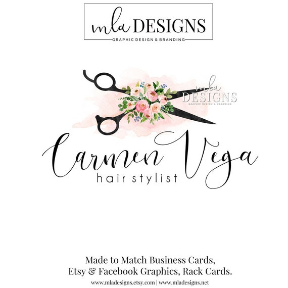 Hair stylist logo premade logo for hair stylist watercolor reheart Image collections