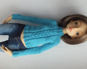SALE! Doll Chateau Kid MSD Hand-knitted pullover jacket turquoise blue